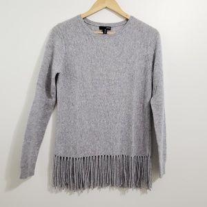 Aqua Fringed Luxury Cashmere Pullover Sweater Sz S